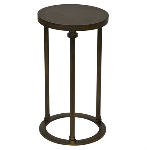 round metal end table samson industrial loft metal stone round side end table