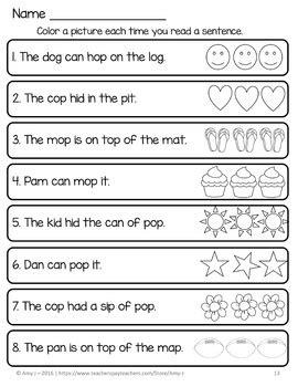 cvc fluency  sentences  amy  teachers pay teachers
