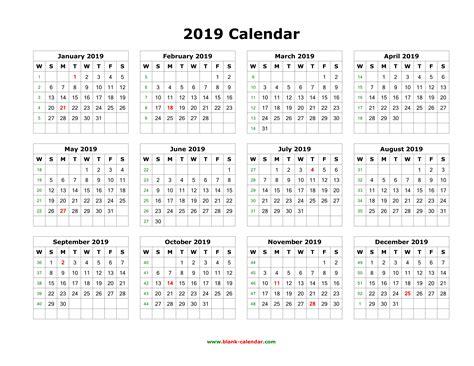 blank calendar months page horizontal