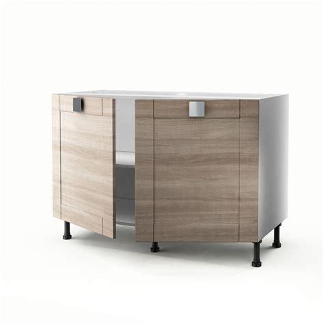 meuble de cuisine 120 cm meuble de cuisine sous évier décor chêne 2 portes karrey h