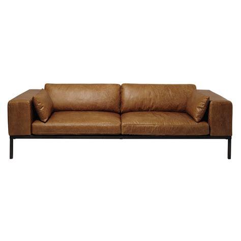 le monde du canapé canapé 4 places en cuir camel wellington maisons du monde