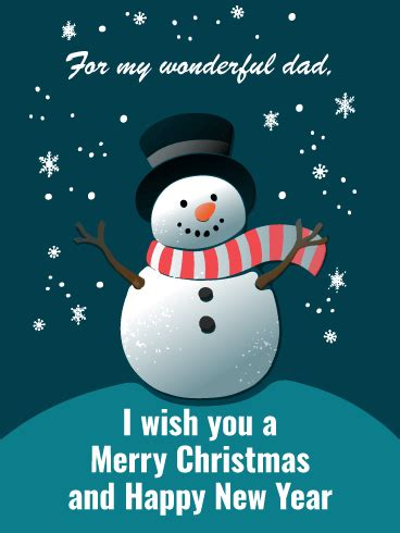 cheerful snowman merry christmas card  father