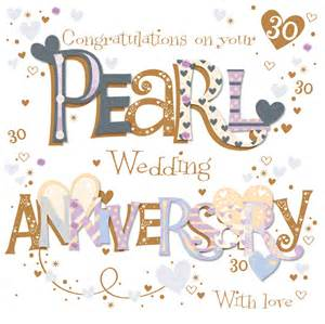 30th wedding anniversary on your pearl 30th anniversary greeting card cards kates