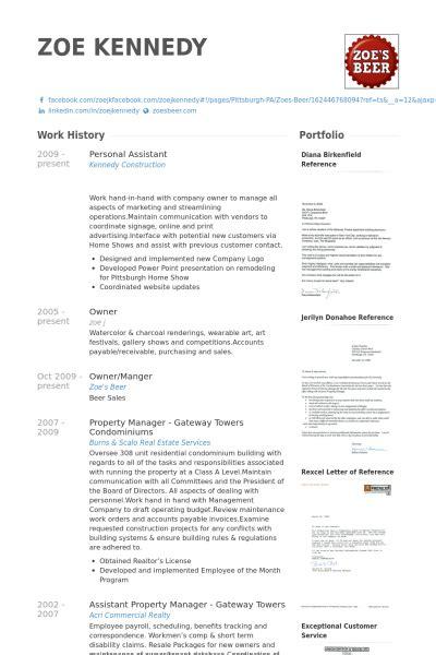 7 personal assistant cv exle visualcv resume sles