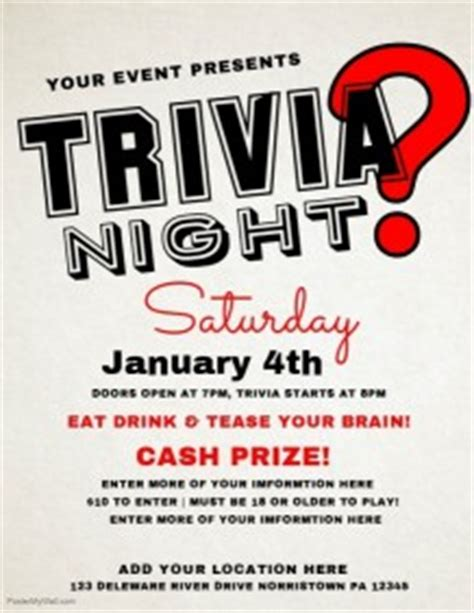 Trivia Poster Template by Customizable Design Templates For Quiz Postermywall