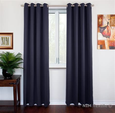 navy thermal insulated blackout curtain panels