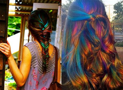 oil slick hair colors pastel  brunettes hairstyles