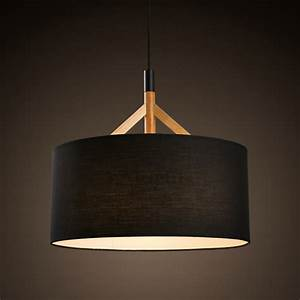 Brief drum pendant light fabric shade black