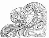 Coloring Pages Waves Ocean Adult Wave Printable Colouring Adults Grown Drawing Lostbumblebee Sheets Flowers Tsunami Printables April Detailed Animals Getcolorings sketch template