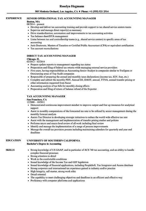 Sle Cpa Resume by Tax Accounting Manager Resume Sles Velvet