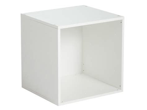 table bar de cuisine avec rangement etagère cube en bois l35cm personnalisable multikaz blanc