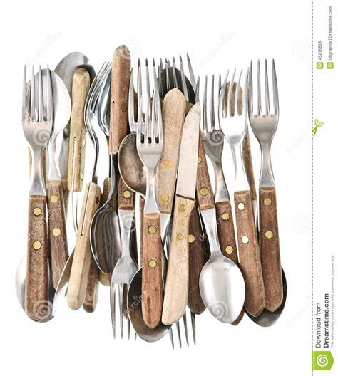 couverts antiques r 233 tro couteau fourchette et cuill 232 re d ustensiles de cuisine photo stock