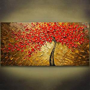 Unframed Panel Wall Art Palette Knife Hand Painted Red