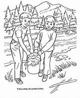 Coloring Pages Arbor Fire Forest Camping Safety Clipart Put Trees Nature Colouring Honkingdonkey Camp Tree Planting Care Park Scene Popular sketch template