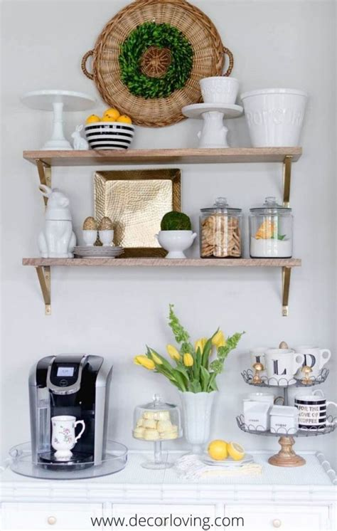 The natural wood creates a fantastic contrast between the mug holder and other ambiance of the kitchen. Cheap Decorating Ideas To Create A Small Coffee Corner In ...