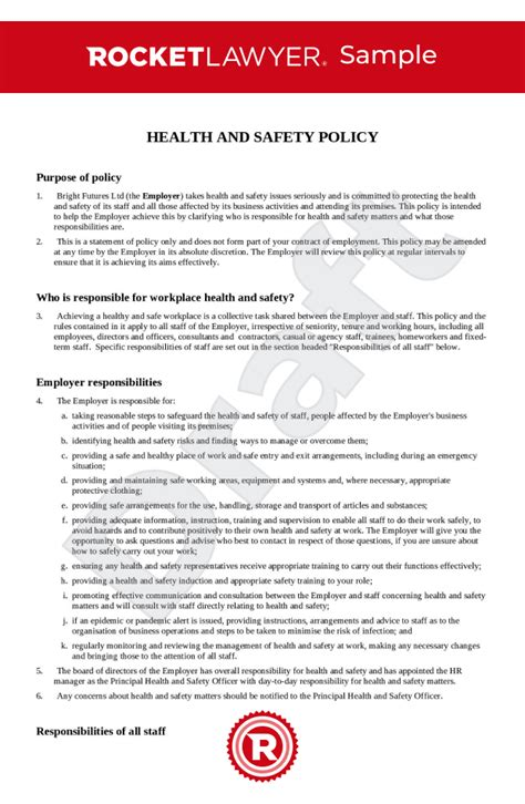 health  safety policy uk template