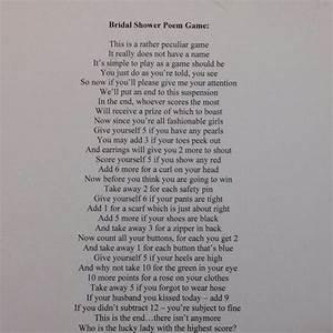 bridal shower poem game bridal shower bachelorette party With wedding shower poems