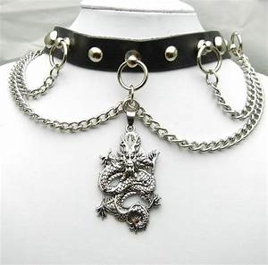 TEN422- 55mm CHINESE DRAGON Pendant Metal Chain Leather ...