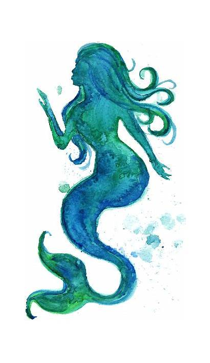 Mermaid Watercolor Vector Silhouette Illustration Clip Illustrations