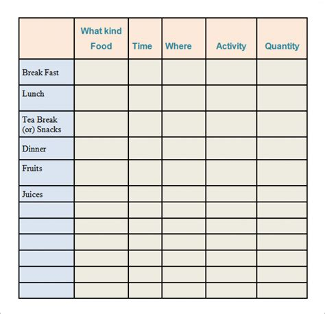 printable calorie counter sheet