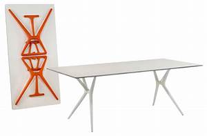spoon foldable table 160 x 80 cm white orange feet by With table de nuit kartell