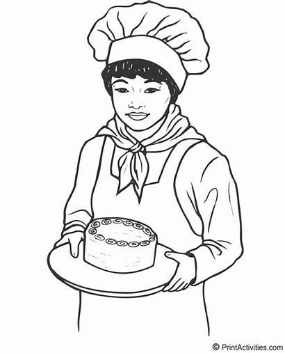 Coloring Jobs Baker Padeiro Desenho Colorir Female