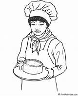 Baker Coloring Pages Jobs Drawing Teller Bank Female Cake Template Makes Padeiro Bakers Activity Sketch Yummy Cakes Torta Popular sketch template