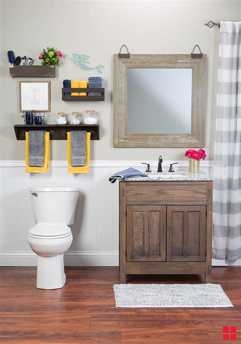 diy wood stained bathroom shelves offer storage