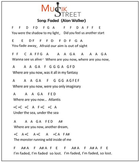 keyboard notes  song faded  alan walker piano