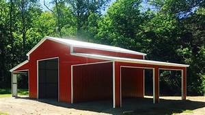 4239x2639 raised center aisle barn With all steel sheds