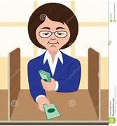 Female bank teller con...