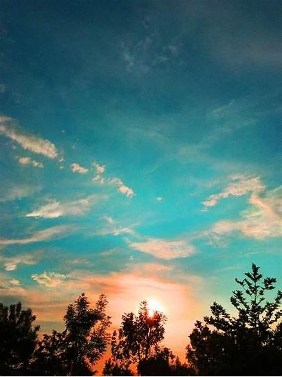 Sky Landscape Clouds Sun Sunset Trees Fisoloji