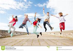 Group Of Teenagers Jumping Royalty Free Stock Photo ...