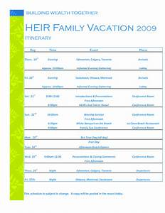 vacation itinerary template beepmunk With itenary template