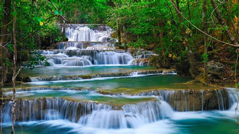 tropical cascade waterfall  kanchanaburi thailand nature