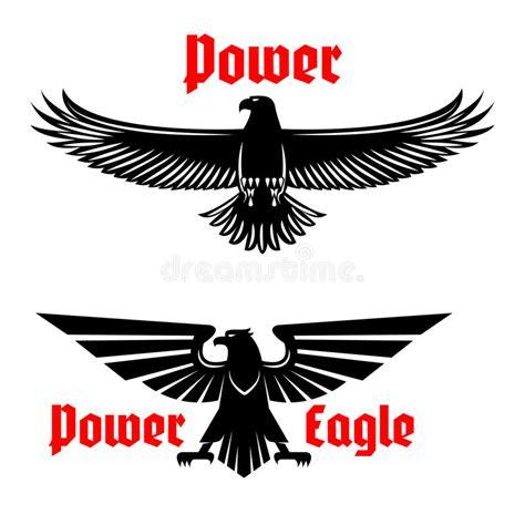 power eagle icon  heraldic bird symbols set stock vector