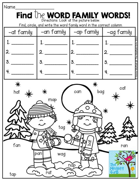 Find The Word Family Words In The Picture! Write Them Under The Correct Column! Fun…fun!!! Tons