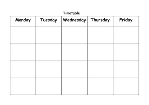 Blank Revision Timetable Template by Blank Timetable By Lbrowne Teaching Resources Tes