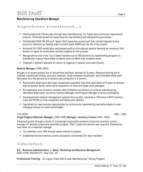 Free Resume For Manufacturing manufacturing manager free resume sles blue sky resumes