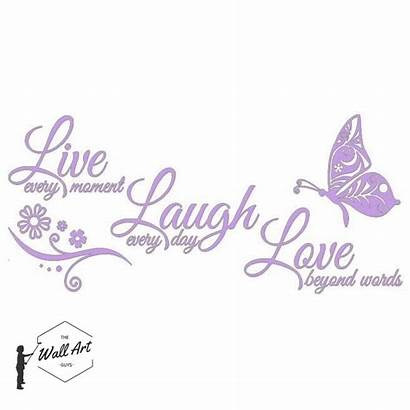 Laugh Butterfly Stickers Decals Inspirational Flower Living