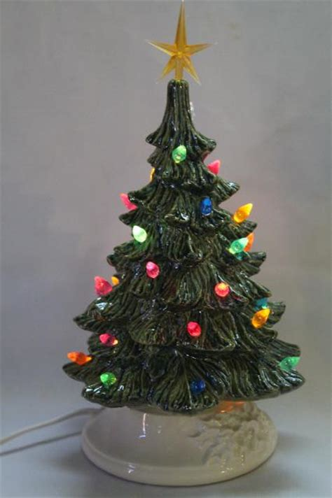 table top christmas tree in pleiglass with falling snow retro ceramic tree lighted electric tabletop tree l w tiny plastic lights