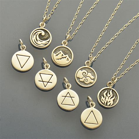 elemental charm necklaces earth air water  fire