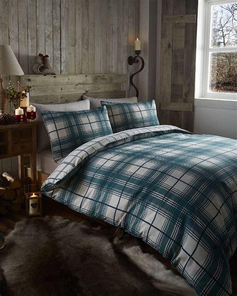Tartan Check Reversible Duvet Quilt Cover Bedding Set