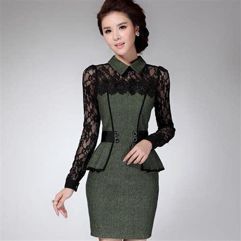 2018 2014 Fall Sexy Elegant Women Professional Long Sleeve Work Dress Underskirt Lace Mosaic ...