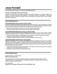 exles of internship resumes exle accounting intern resume free sle
