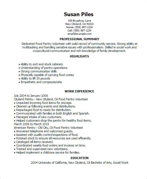 how to write volunteer work on resume 28 images food pantry volunteer resume template best design tips