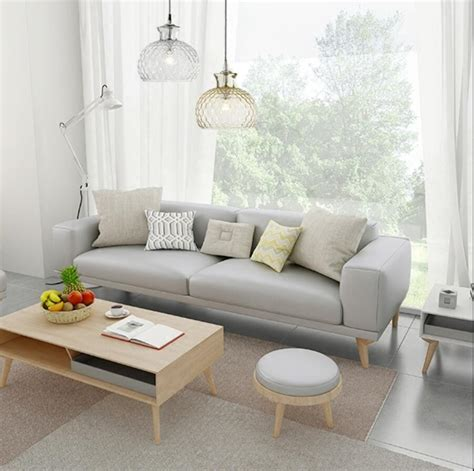 Small Apartment Sofa by Nordic Small Apartment Leather Sofa Cowhide Solid Wood