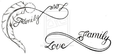 feather love  family infinity symbol   heart