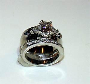 skull wedding engagement ring wedding band set custom With wedding rings with skulls on them