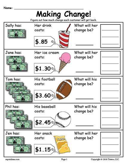 printable making change money worksheets  versions
